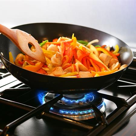 Cooking with natural gas on stove top